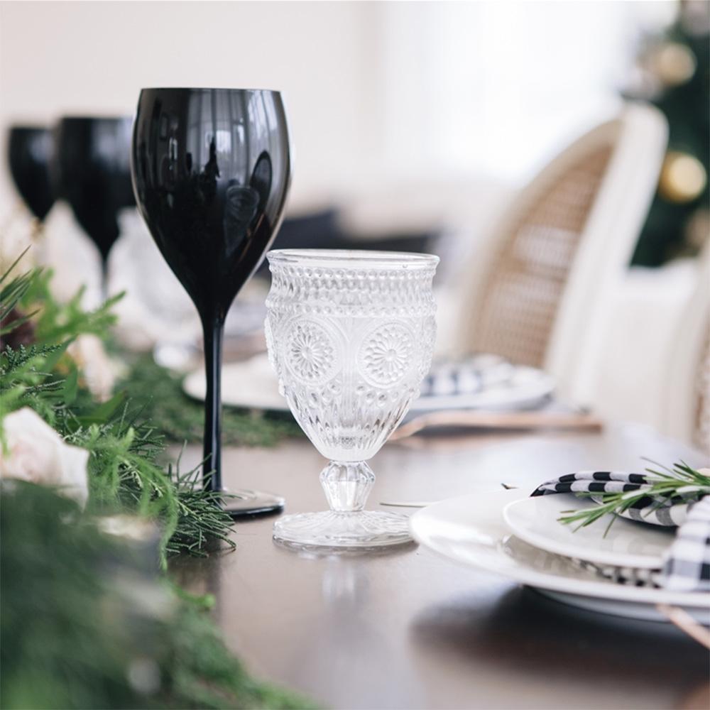 Zwarte Wijnglazen - Set van 4