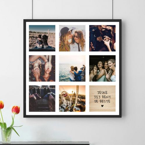 Personaliseerbare poster met 8 foto's en tekst
