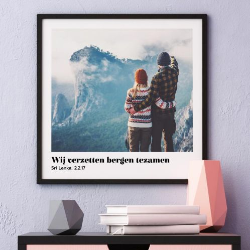 Poster met foto en tekst
