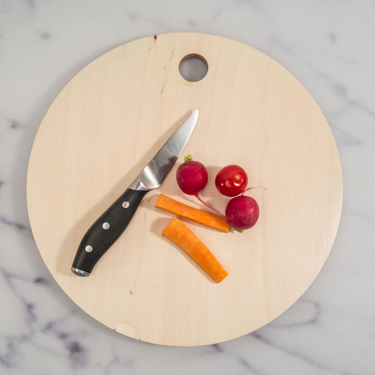 Ronde personaliseerbare snijplank met foto en tekst
