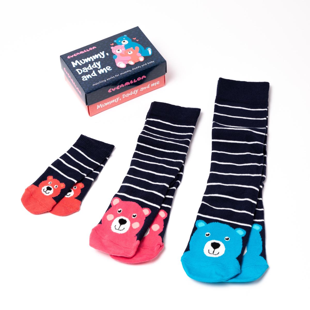 Mama, Papa en Kind Sokken Set van 3