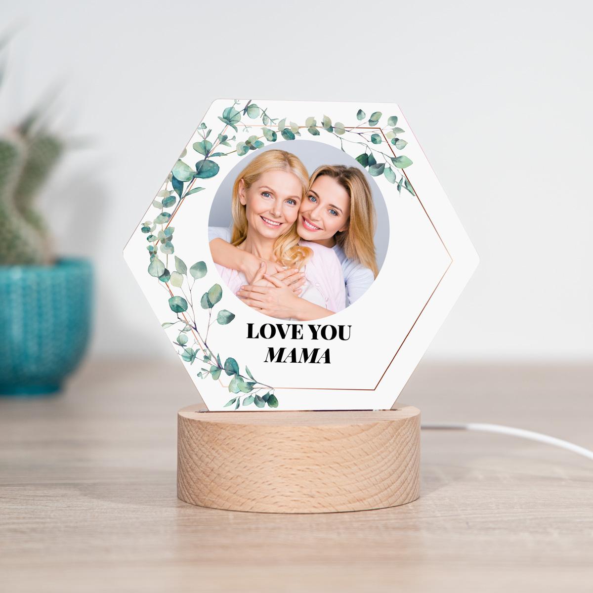 Cadeau voor mama LED lamp bladjes met foto en tekst