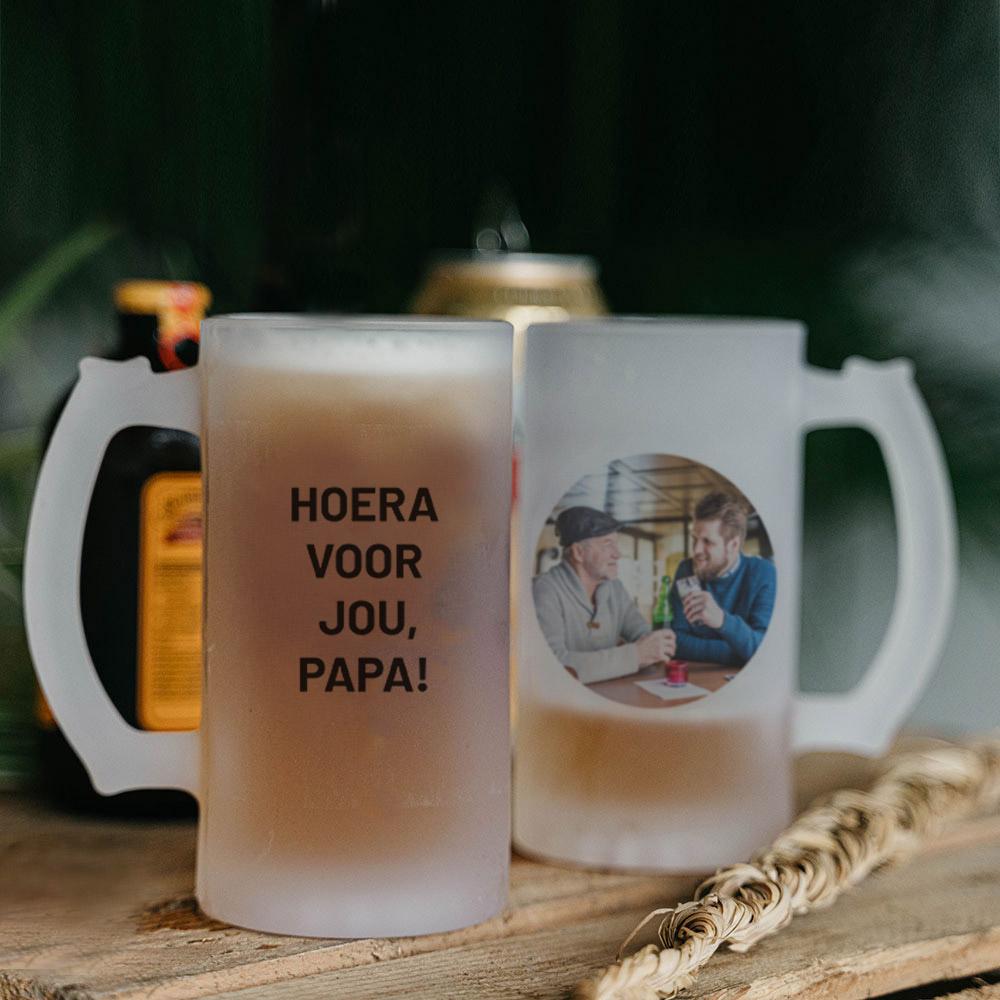 Cadeau voor papa bierpul met foto en tekst
