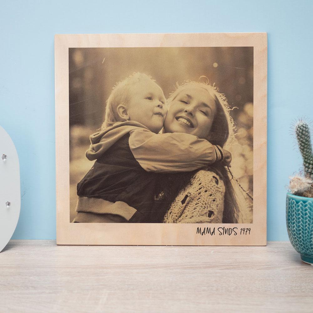 cadeau voor mama Personaliseerbare foto op hout in polaroid look