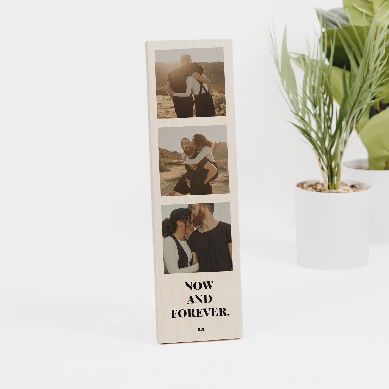 Huwelijkscadeaus Lange houten lijst met 3 foto's en tekst