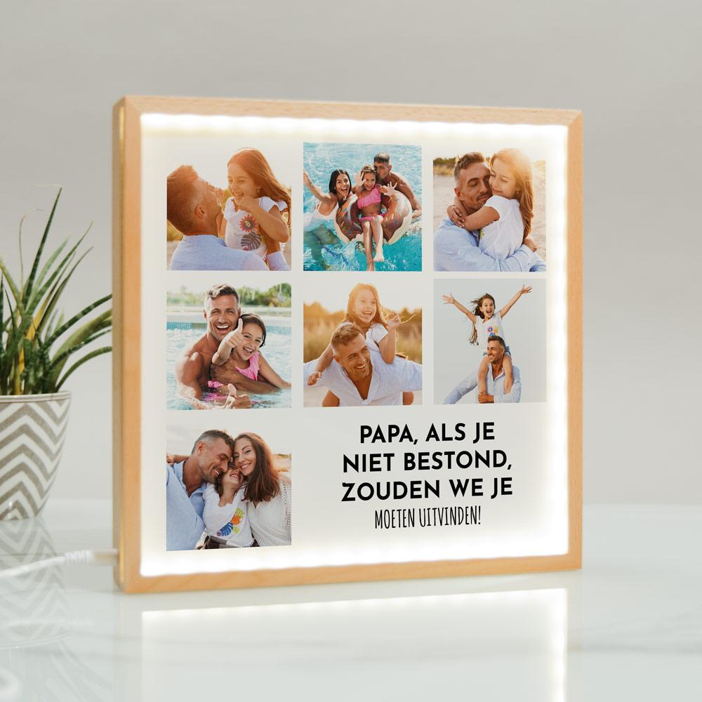 Cadeau voor papa unieke lichtbox met 7 foto's en tekst