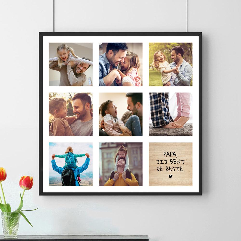 Vaderdag Cadeau Personaliseerbare poster met 8 foto's en tekst