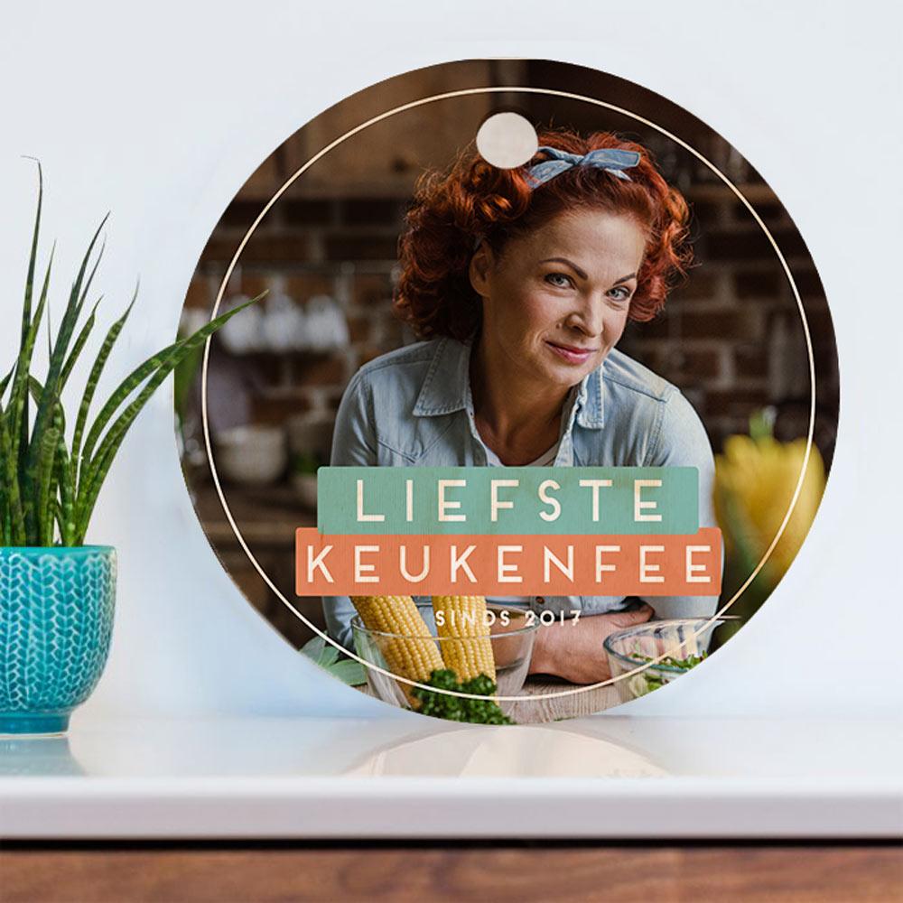 Cadeau voor mama Ronde personaliseerbare snijplank met foto en tekst