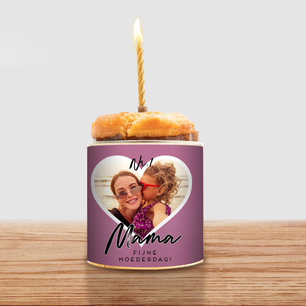 Cadeau voor mama Cancake met hartje en tekst