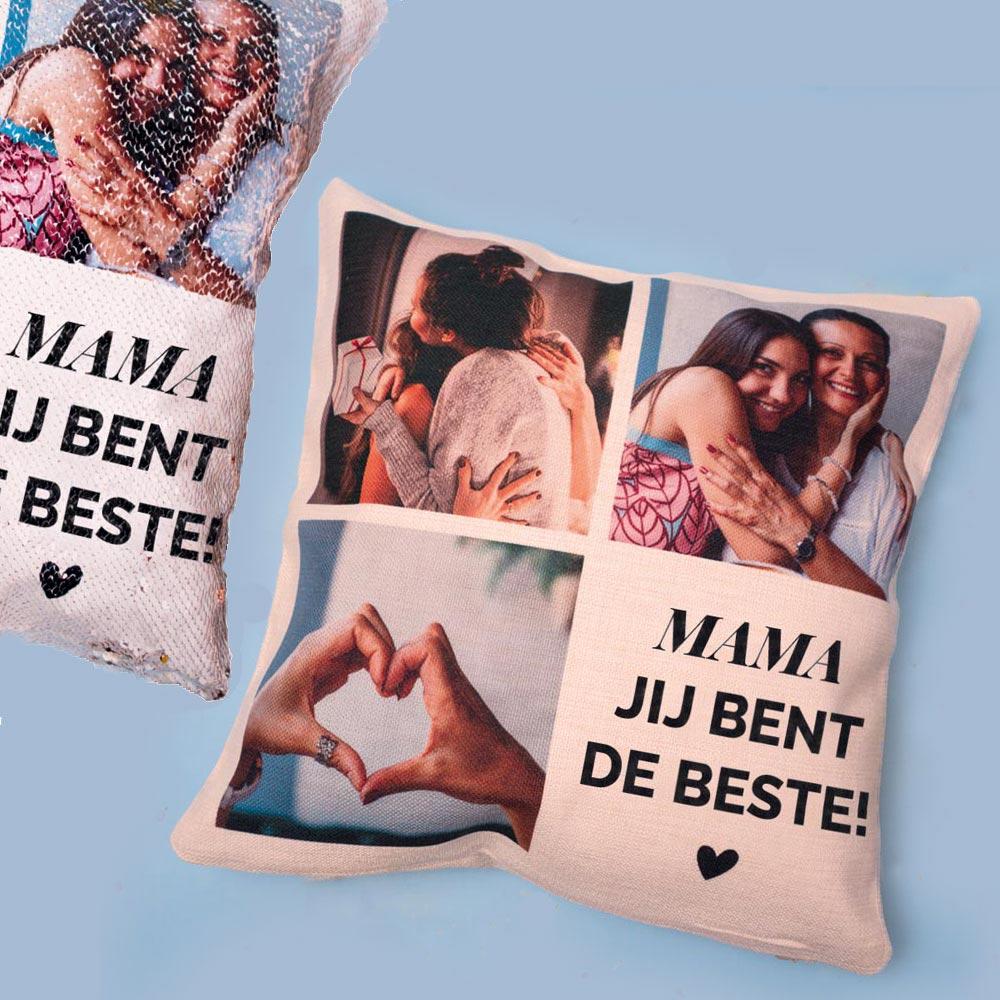 Cadeau voor mama Personaliseerbare kussensloop met 3 foto's en tekst