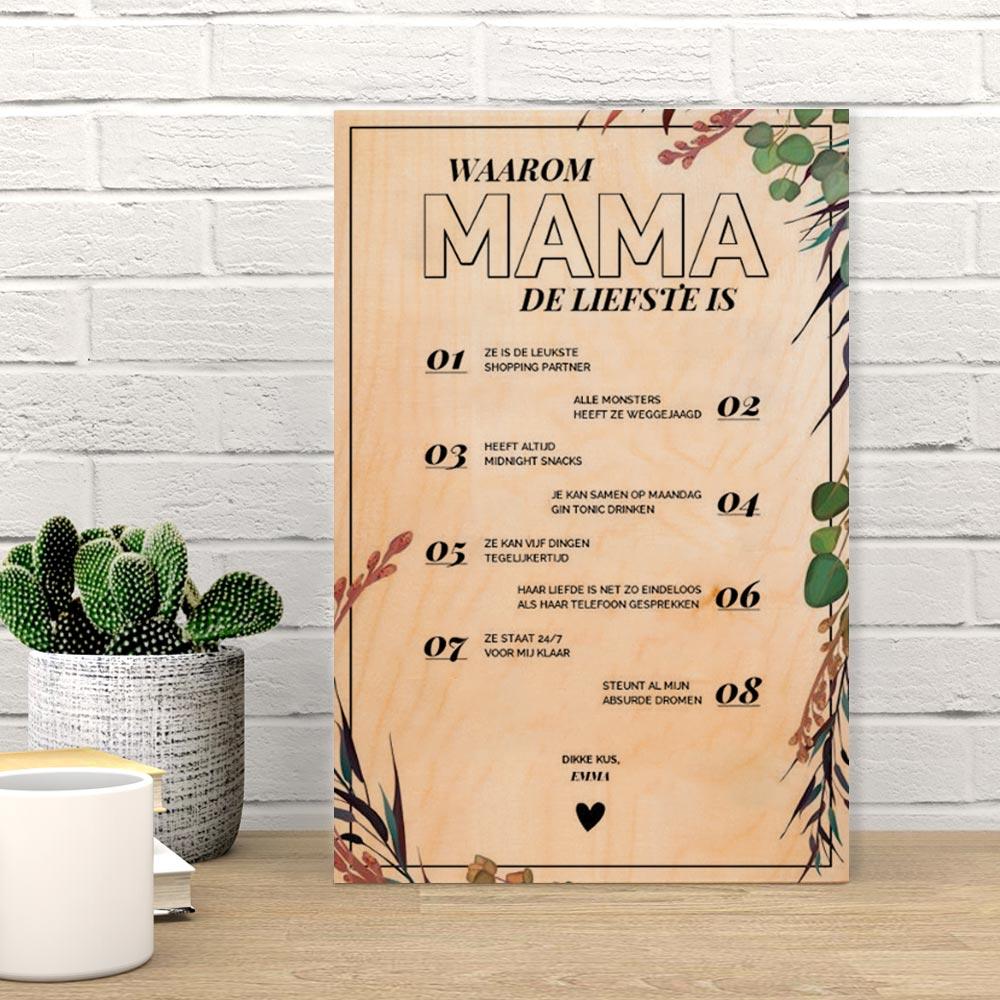 Cadeau voor mama Personaliseerbare tekst op hout – waarom X de liefste is