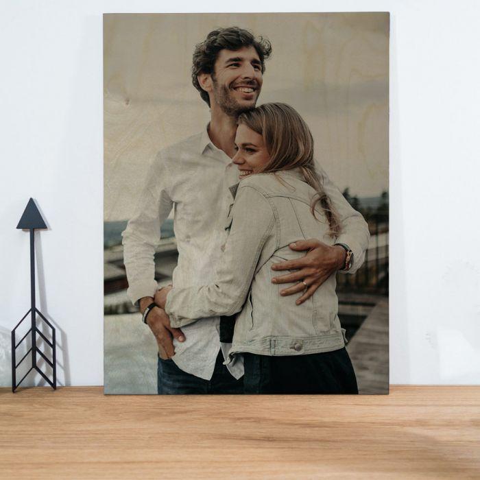 Huwelijkscadeau Personaliseerbare foto op hout