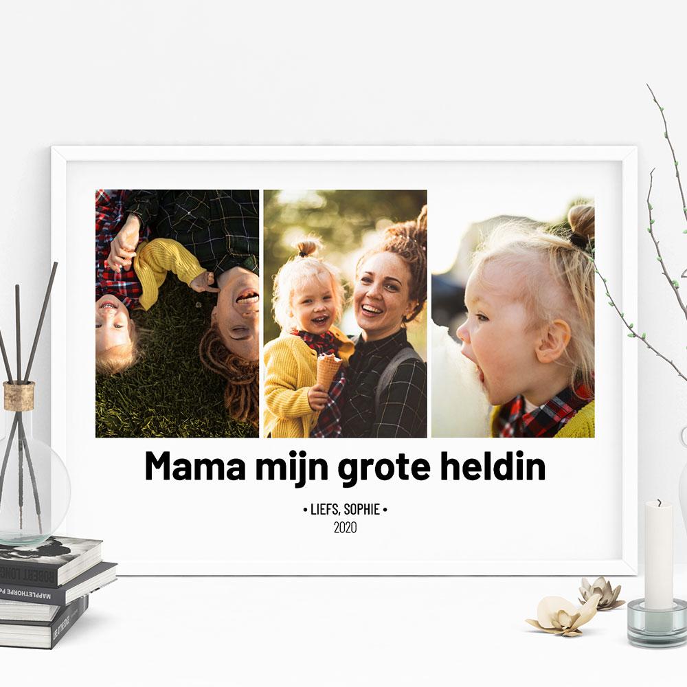 Cadeau voor mama Poster met 3 foto's en tekst