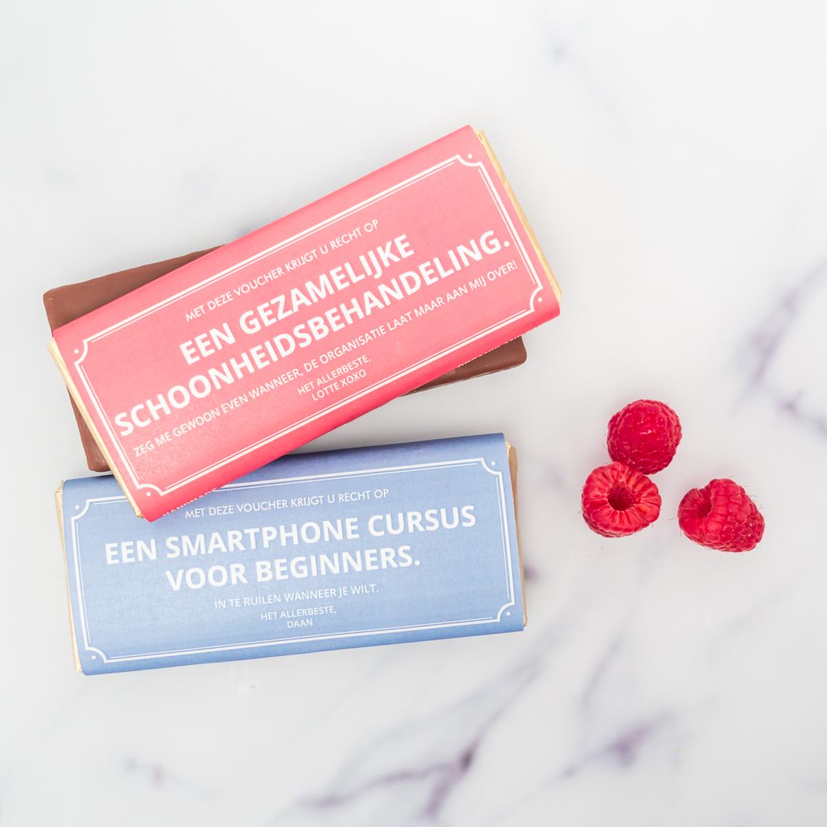 cadeau voor haar - gepersonaliseerde waardebon met chocolade