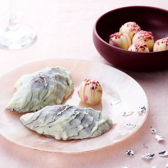 Chocolade oesters en Champagne truffels
