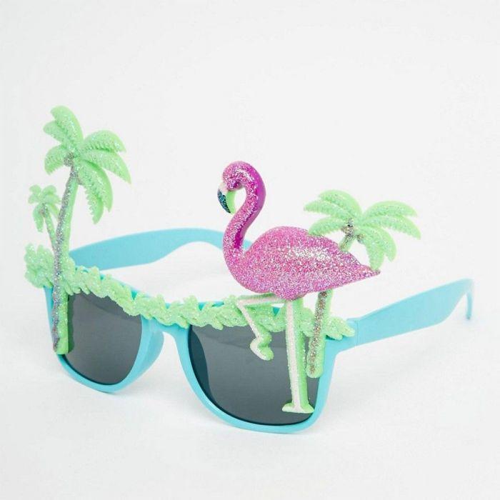 Flamingo zonnebril met palmbomen