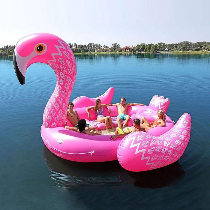 Opblaasbaar flamingo eiland voor 6 personen