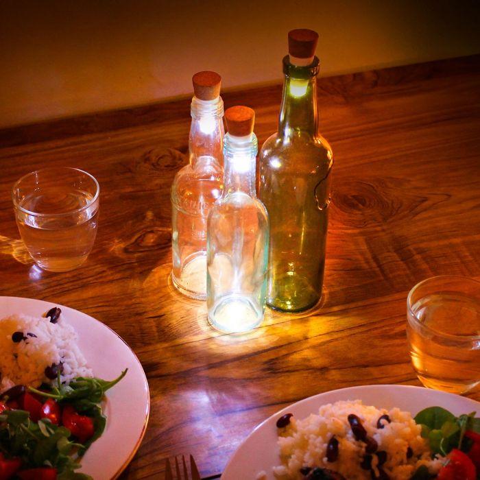 LED flessenlichten met USB - Wit