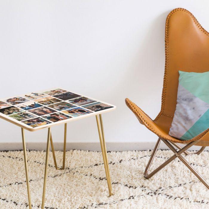 Personaliseerbare houten tafel met 16 foto's