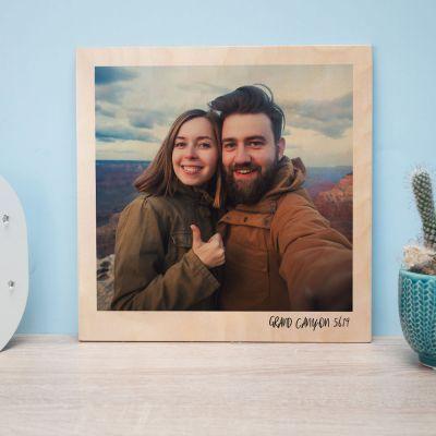 Personaliseerbare foto op hout in polaroid look