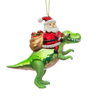 Kerstman met dinosaurus kerstboomversiering