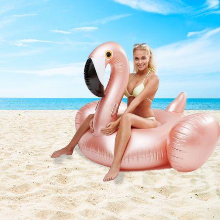 Opblaasbare Reuzen Flamingo in Rosé Goud