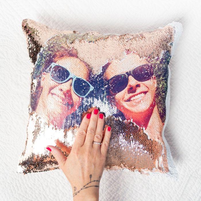 Personaliseerbaar glitter kussensloop met foto