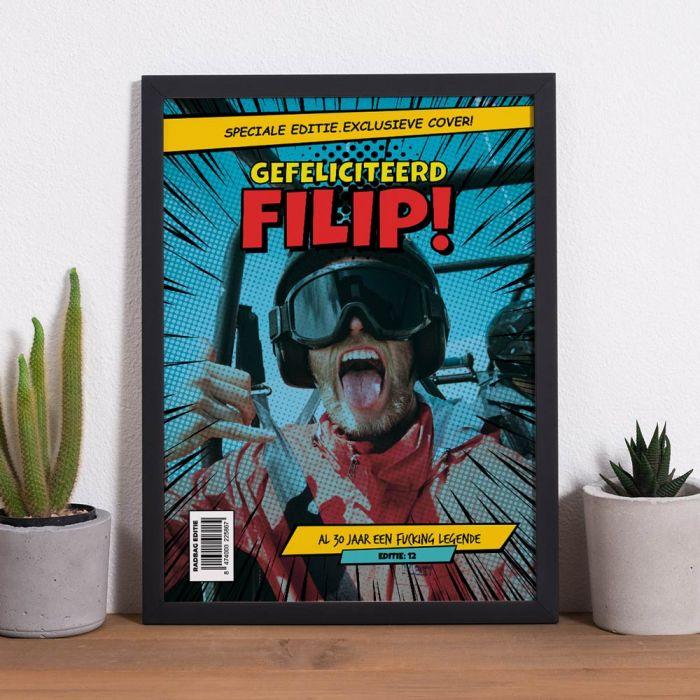 Personaliseerbare poster met tekst en foto in comic stijl