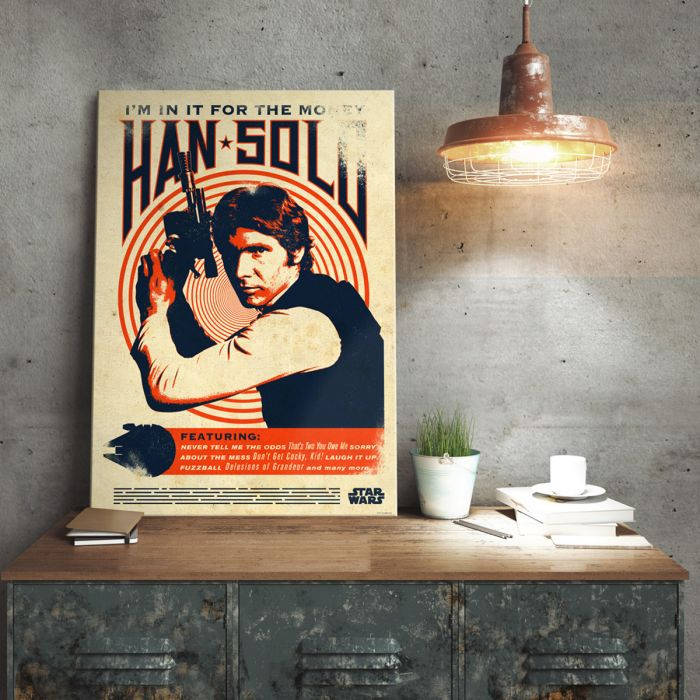 Star Wars metaalposter - Han Solo Retro