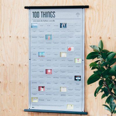 Verjaardagscadeau voor 40 - Poster met 100 dingen die je nog in je leven moet doen