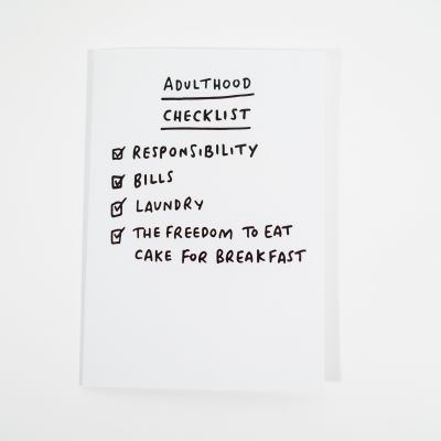 Kaarten - Adulthood checklist wenskaart