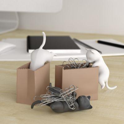 Plezier op kantoor - Houder voor paperclips met kat in zak