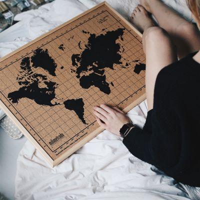 Romantisch cadeau - Kurk-prikbord wereldkaart