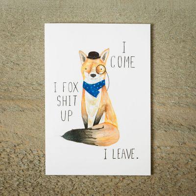 Kaarten - Fox Shit Up wenskaart