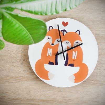 Gepersonaliseerde klokken - Personaliseerbare vos wandklok voor koppels