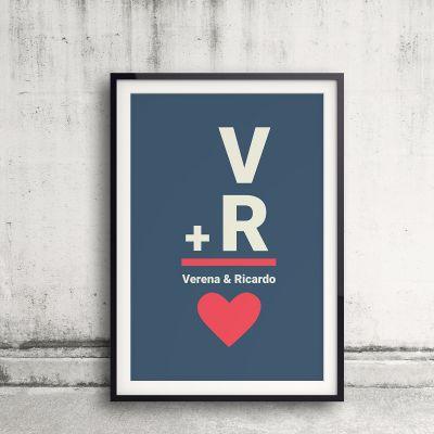 Romantisch cadeau - Initialen - Personaliseerbare poster