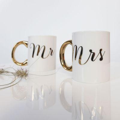 Valentijnscadeau voor haar  - Gouden mokken Mr & Mrs