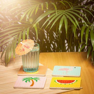 Cadeau voor mama - Tropische Onderzetters Set van 4