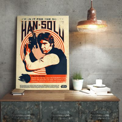 Film & Serie - Star Wars metaalposter - Han Solo Retro