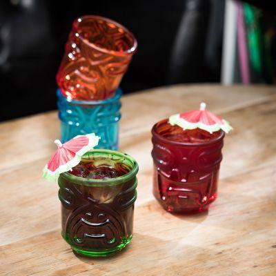Radbag koopjes in alle geuren en kleuren! - Kleurrijke Tiki cocktailglazen set van 4