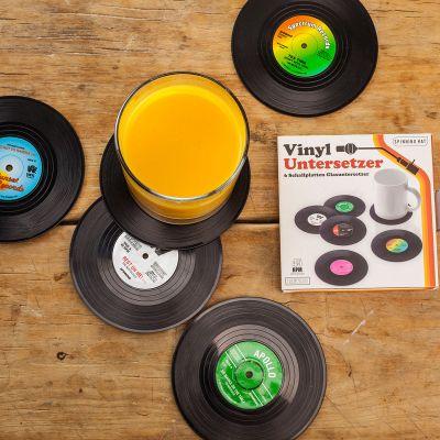 Cadeau voor ouders - Vinyl Elpee onderzetters – set van 6