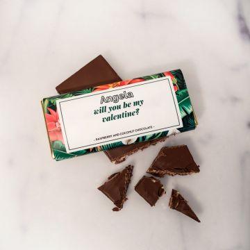 Personaliseerbare chocolade met bloempatroon en tekst