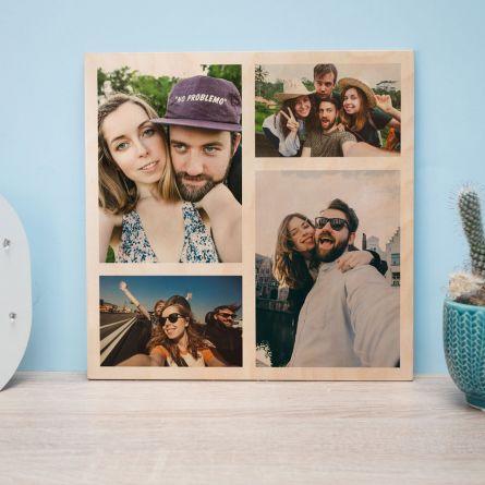 Personaliseerbare foto op hout met 4 foto's
