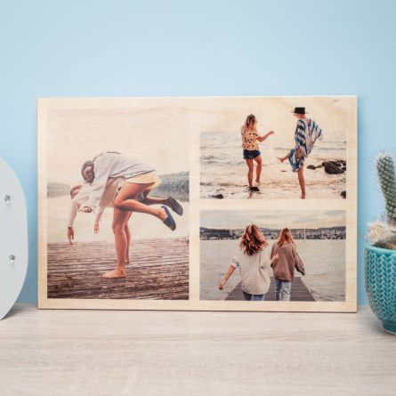 Personaliseerbare foto op hout met 3 foto's