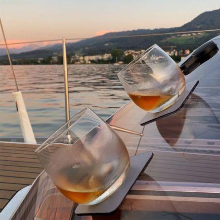 Magnetische whiskyglazen met glazen onderzetters