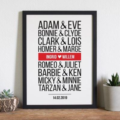 Persoonlijke Posters - Beroemde koppels – personaliseerbare poster