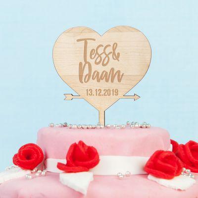 Huwelijkscadeau - Personaliseerbare taarttopper met hart