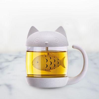 Cadeau idee - Katten mok met vis thee-ei