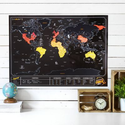 Cadeau voor broer - Krasbare wereldkaart met krijtverf