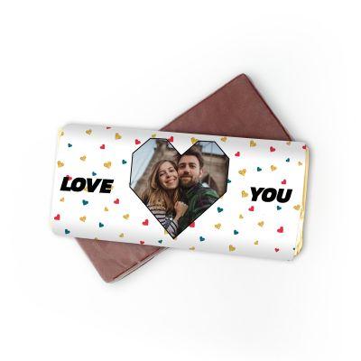 Romantisch cadeau - Personaliseerbare chocolade met foto hartje en tekst